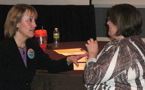 Susan Fitzell coaching a teacher
