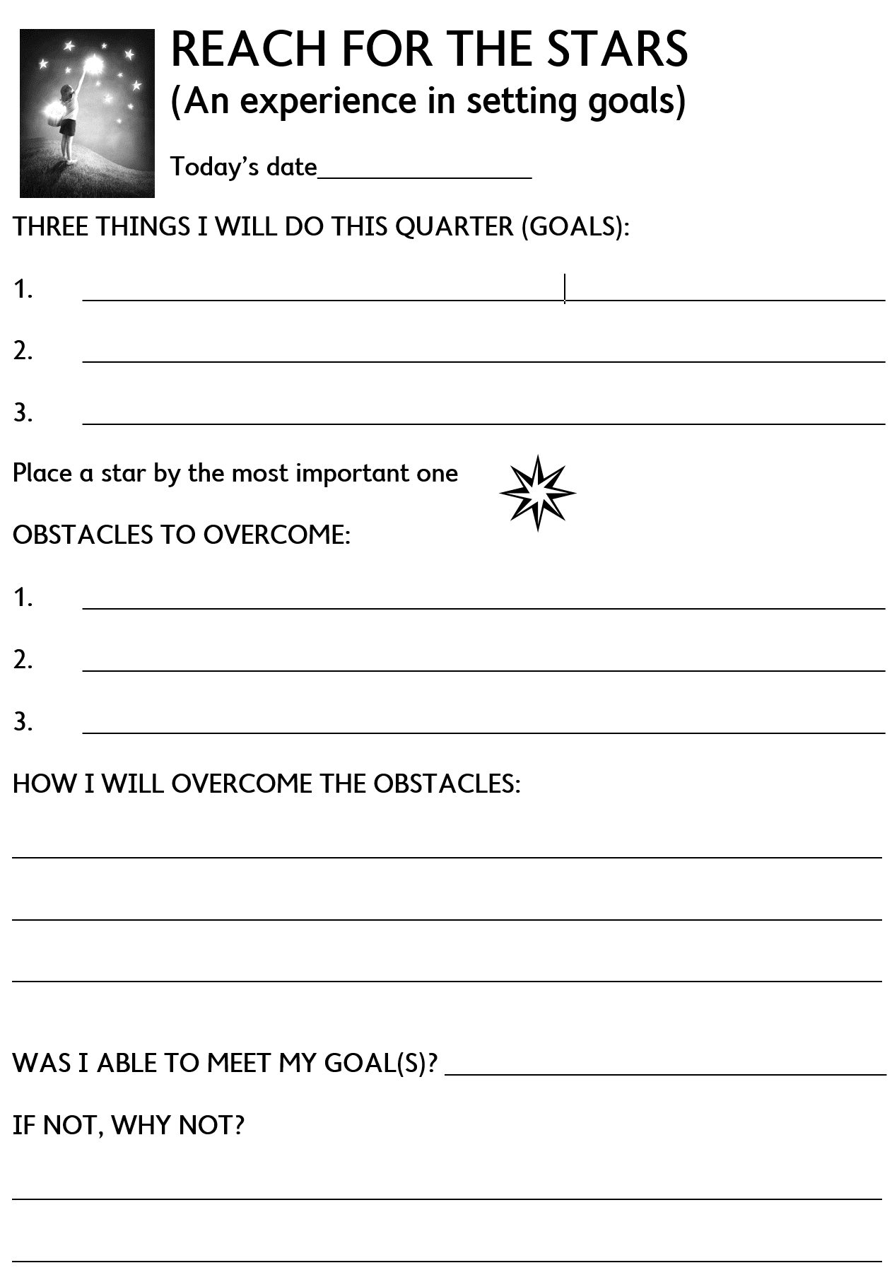 Goal setting form for motivating students
